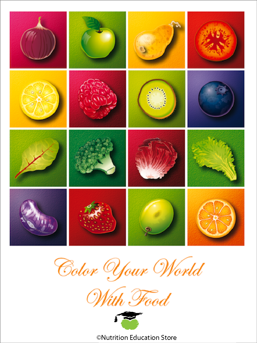 Colors of Health Fruit and Vegetable Poster - Nutrition Poster - Motivational Poster - Nutrition Education Store