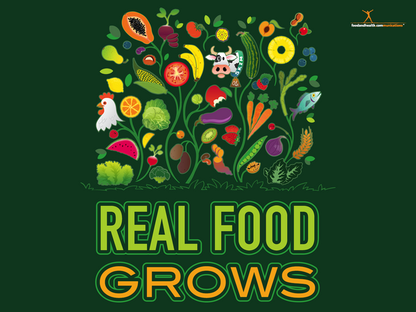 "Real Food Grows Health Fair Banner 48"" X 36"" Vinyl - Wellness Fair Banner - Fruits and Vegetables - Kids - Adults - Nutrition Education Store"