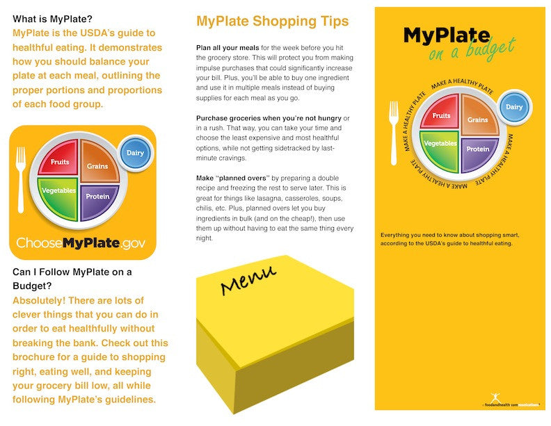 myplate on a budget brochure pamphlet packets of 25 20 24