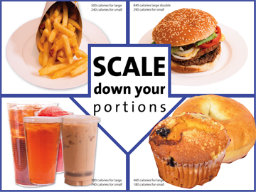 Custom Scale Down Your Portions Banner 48X36 - Add Your Logo To This Health Fair Banner - Nutrition Education Store