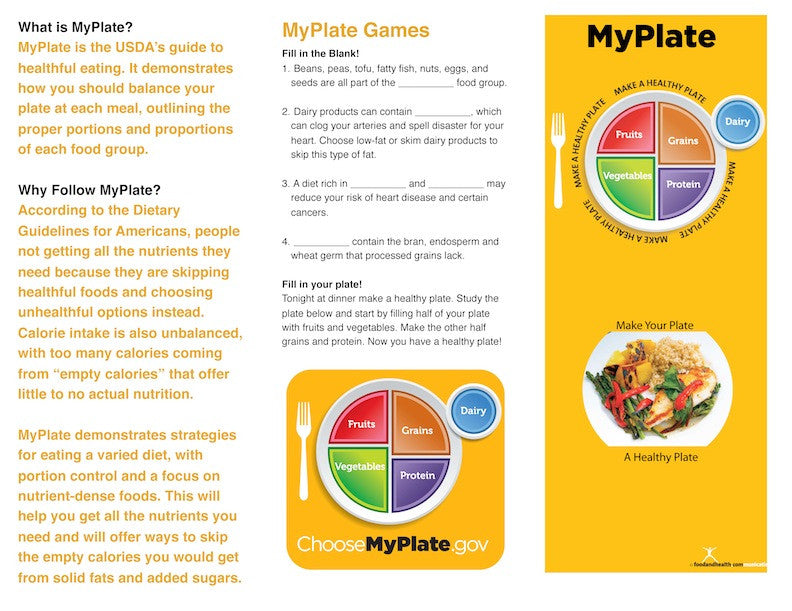 myplate brochures pamphlets packs of 25 20 24 nutrition