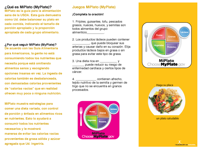 photograph relating to My Plate Printable Placemat called MiPlato Spanish MyPlate Brochures Pamphlets Packs of 25