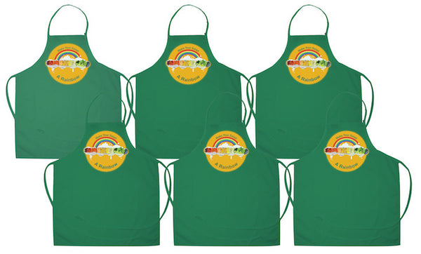 Rainbow Salad Aprons - 6 pack of kelly green aprons with pockets and adjustable straps