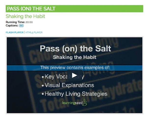 Salt DVD - Salt Video - Salt and Sodium Education - Nutrition Education DVD - Nutrition Education Store