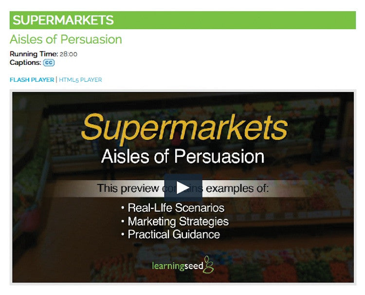 Supermarket Shopping Video on DVD - Nutrition Education DVD - Nutrition Education Store