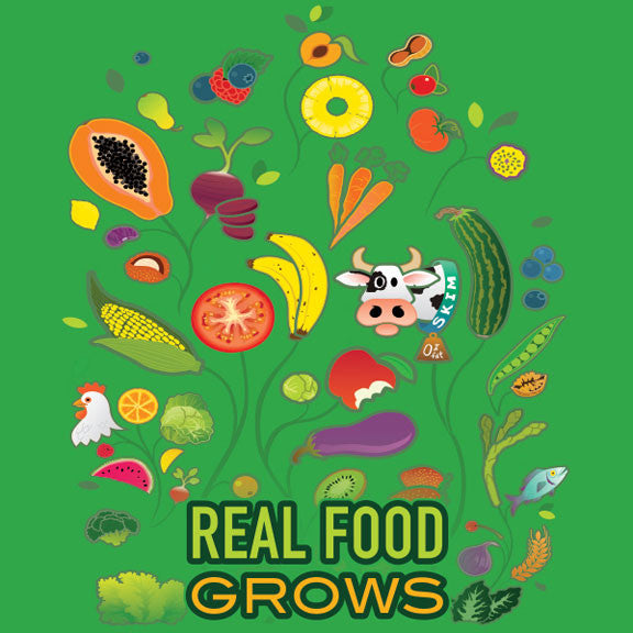 "Real Food Grows Stickers 2"" - Pack of 100"