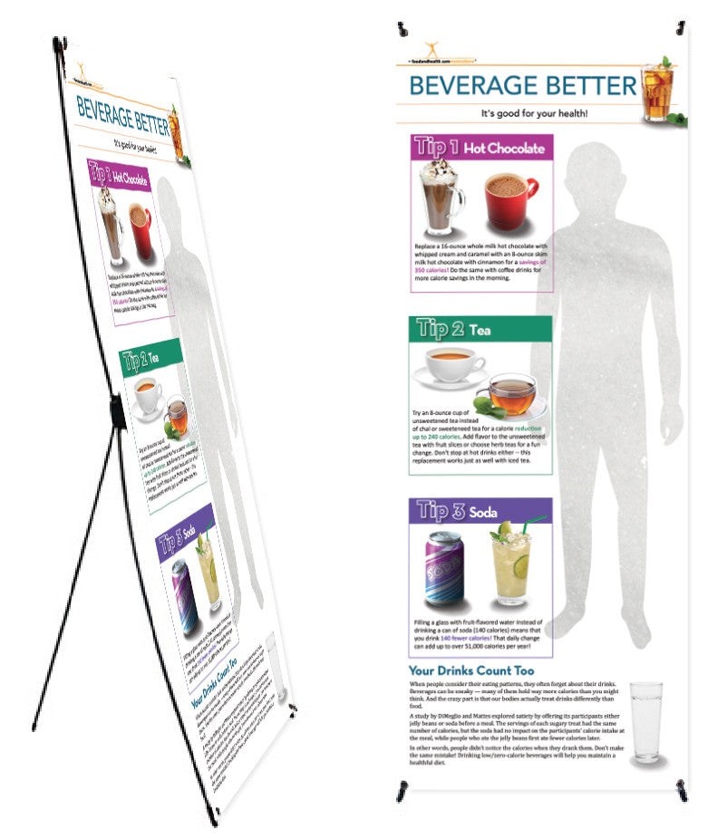 "Beverage Banner and Banner Stand 24"" X 62"" - Nutrition Education Store"