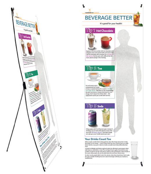 "Custom Beverage Banner and Banner Stand 24"" X 62"" - Add Your Logo To This Health Fair Banner"