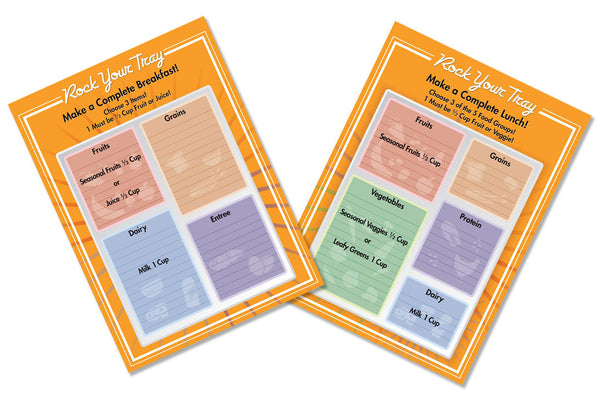 "Erasable School Breakfast and Lunch Tray Menu 18""X24"" Set"