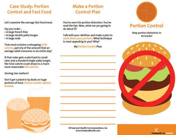 Weight Management Brochure Portion Control 25 Brochures - Nutrition Education Store