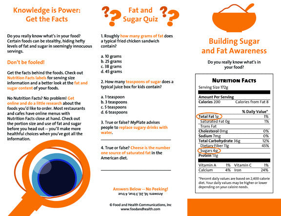 Weight Management Brochure Building Sugar and Fat Awareness 25 Brochures