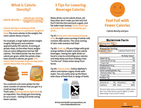 Weight Management Brochure Feel Full with Fewer Calories 25 Brochures - Nutrition Education Store
