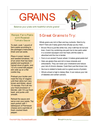 Whole Grain Illustration Poster - Nutrition Education Store