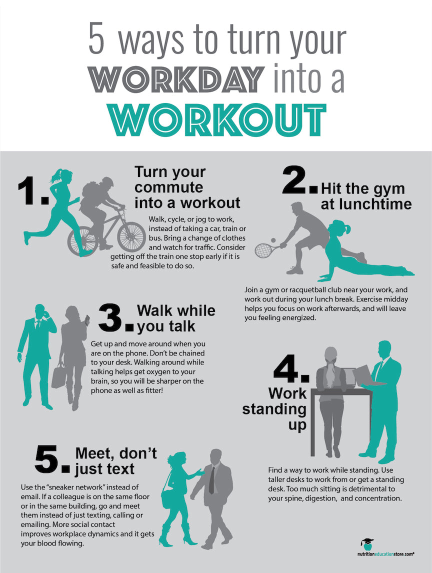 "Workday Workout Poster Exercise At Work Poster - 18"" x 24"" - Laminated - Nutrition Education Store"