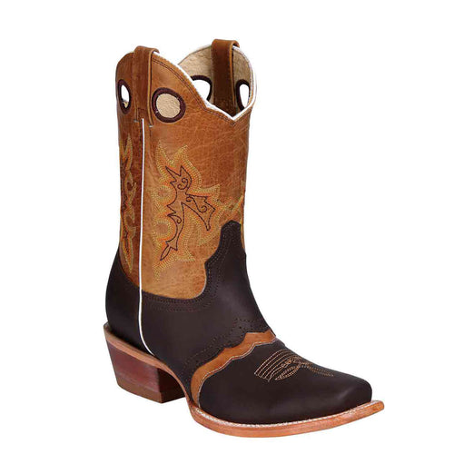El General Brown Square Toe Cowgirl Boots - Saddle Vamp