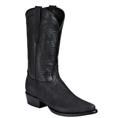 El General Men's Semi Pointed Bull Shoulder Black Cowboy Boots