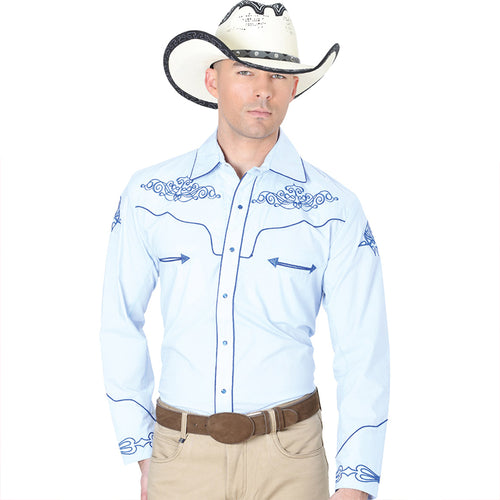 El General Men's Sky Blue Charro Western Shirt
