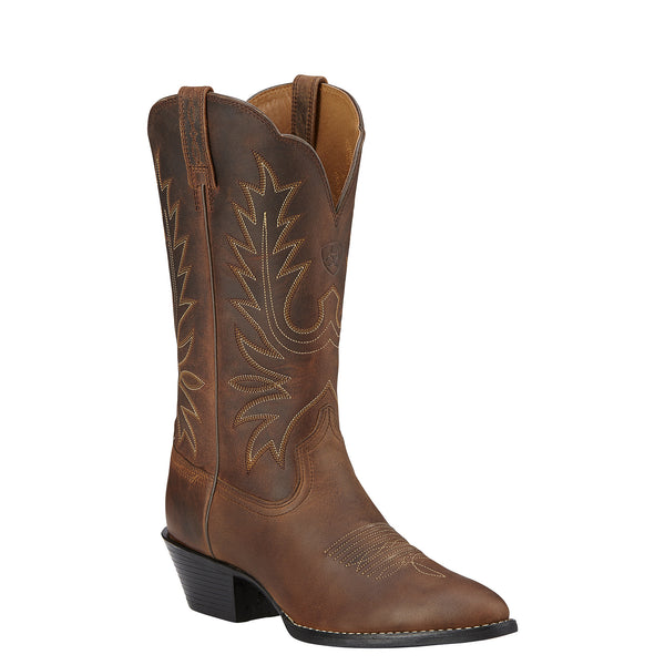Ariat Women's Heritage Western R Toe Brown Distressed - VaqueroBoots.com - 1