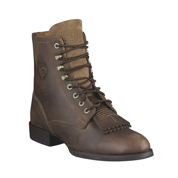 Ariat Women's Lace-Up Heritage Lacer II Roper Boots Distressed Brown - VaqueroBoots.com