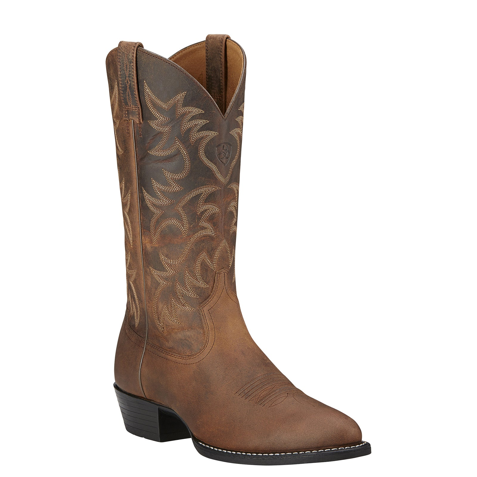 Ariat Men's Heritage R Toe Distressed Brown Western Boots - VaqueroBoots.com - 1
