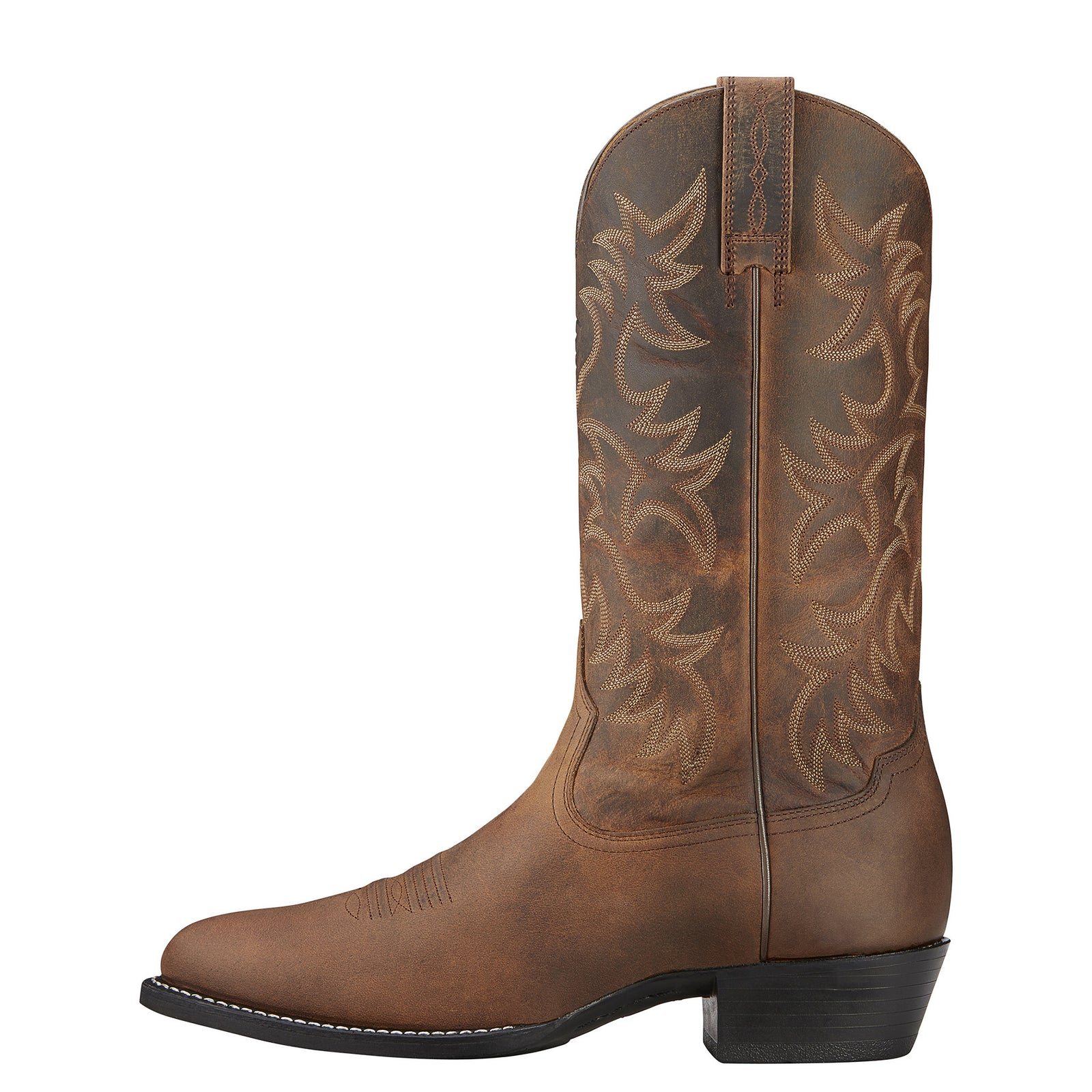 Ariat Men's Heritage R Toe Distressed Brown Western Boots - VaqueroBoots.com - 3
