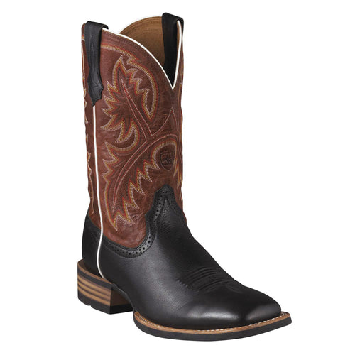 Ariat Men's Quickdraw Black Deer-Tan Square Toe Boots - VaqueroBoots.com