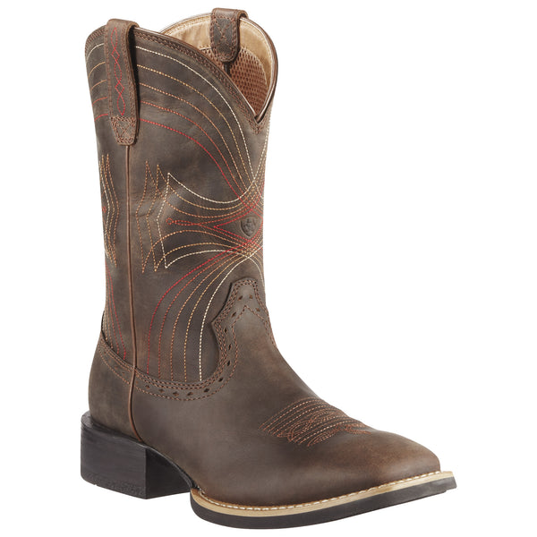 Ariat Men's Sport Wide Square Toe Distressed Brown - VaqueroBoots.com - 1
