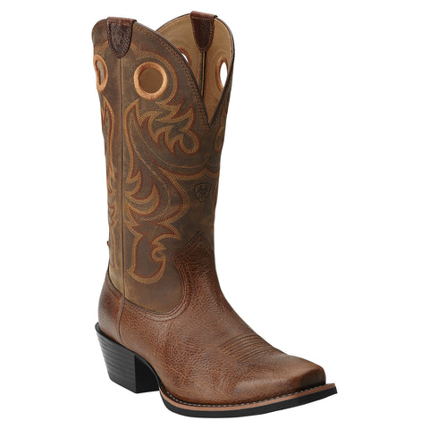 Ariat Men's Heritage R Toe Distressed Brown Western Boots