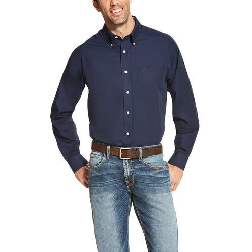 Ariat Men's Wrinkle Free Solid Long Sleeve Navy Blue Shirt