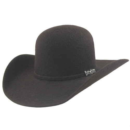 Cuernos Chuecos 10x Chocolate Grizzly Fur Felt Open Crown Cowboy Hat