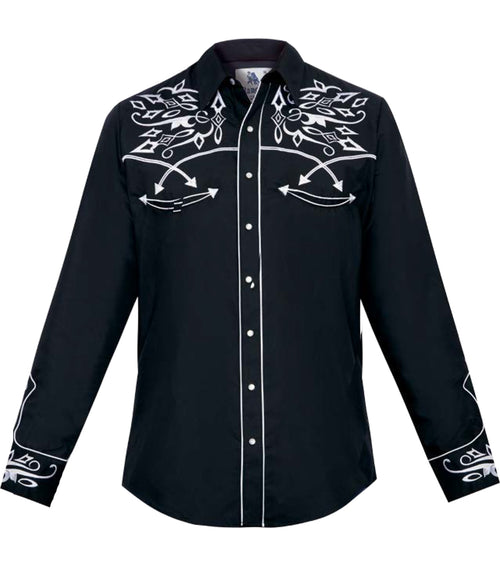 Rangers Mens Black Western Shirt - 118CA01