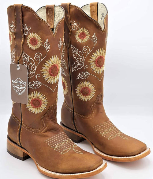 Quincy Sunflower Square Toe Cowgirl Boots 🌻