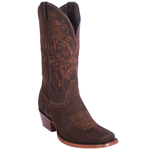 El General Suede Brown Square Toe Cowgirl Boots