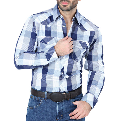 El Señor De Los Cielos Men's Grey/White Western Long Sleeve Shirt