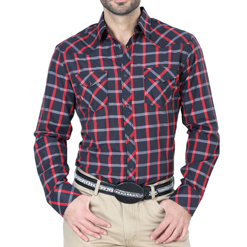 El Señor De Los Cielos Men's Black/Red Western Long Sleeve Shirt