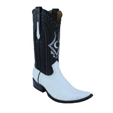 Cuadra Men's White Exotic Caiman Back European Toe Boots - VaqueroBoots.com