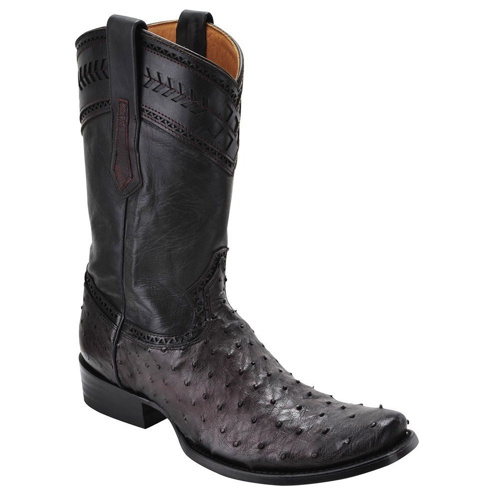 Cuadra Men's Ostrich Western Boot Urban Toe Black Cherry - VaqueroBoots.com
