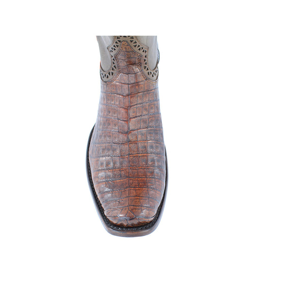 Cuadra Men's Caiman Belly Urban Toe Boot Lumber Bone - VaqueroBoots.com - 3