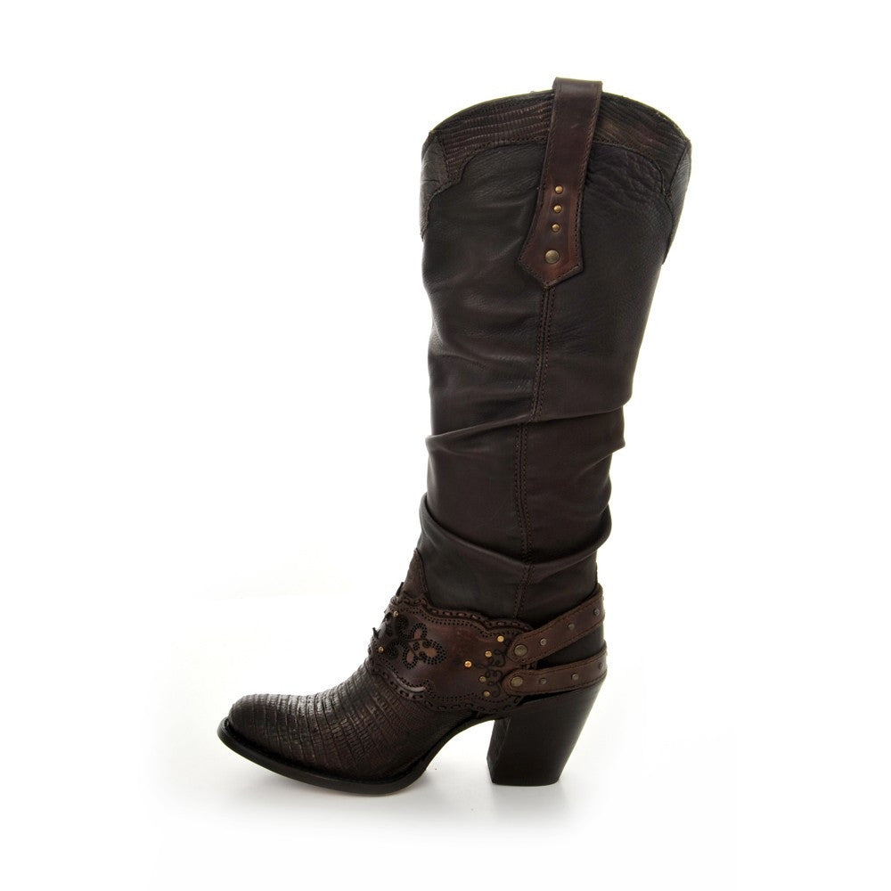 Cuadra Women's Lizard Rustic Finish Boot Fango Brown - VaqueroBoots.com - 3