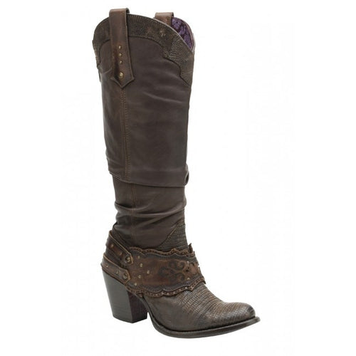 Cuadra Women's Lizard Rustic Finish Boot Fango Brown - VaqueroBoots.com - 1