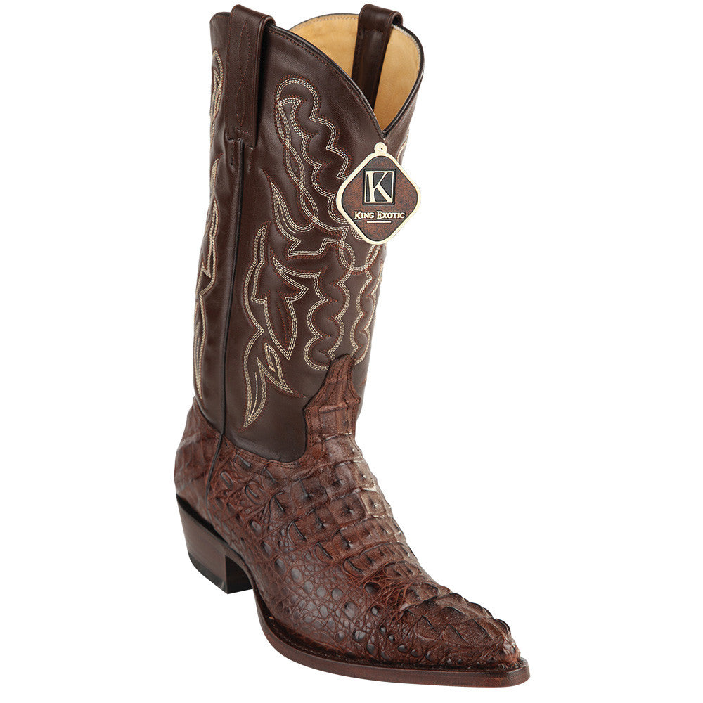 King Exotic Caiman Hornback Traditional Cowboy Boot J-Toe - VaqueroBoots.com - 2