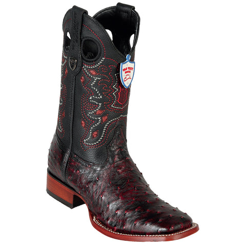 Wild West Black Cherry Ostrich Wild Ranch Square Toe Boots - VaqueroBoots.com