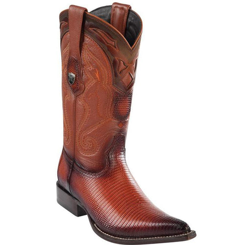 Wild West Lizard Faded Cognac 3x Toe Cowboy Boots