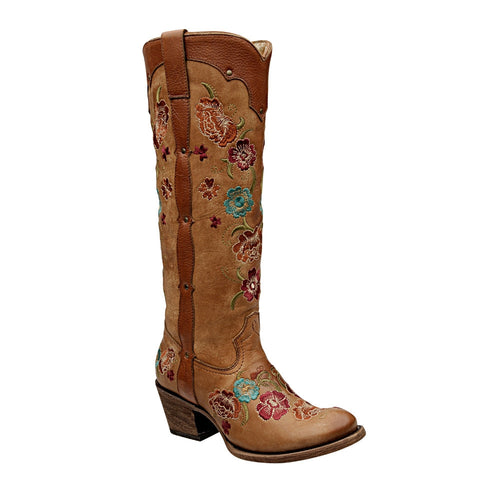 Cuadra Ladies Honey Flower Embroidered Tall Boot - VaqueroBoots.com