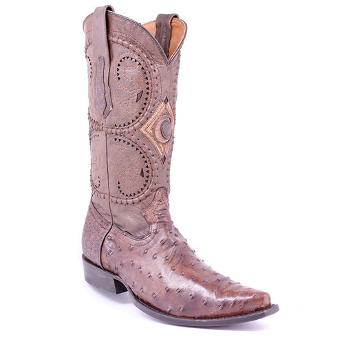 Cuadra Men's Ostrich Western Snip Toe Boot Maple - VaqueroBoots.com