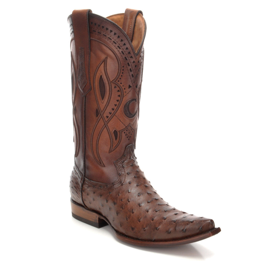 Men's Ostrich Snip Toe Cowboy Boot Everest Chocolate