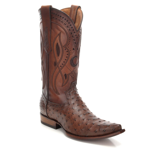 Cuadra Men's Ostrich Snip Toe Cowboy Boot Everest Chocolate