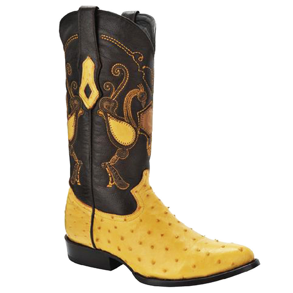 Cuadra Men's Traditional Western Ostrich Boot Yellow - VaqueroBoots.com