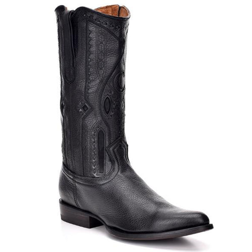 Cuadra Men's Black Deer  R-Toe Cowboy Boots