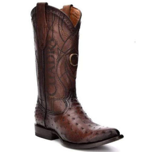 Cuadra Men's Ostrich R-Toe Cowboy Boots - Flame Brown